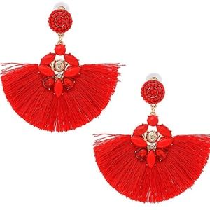 Jewelry - Red Fringe Earrings